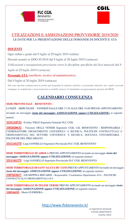 Calendario Scioperi Scuola 2020.Utilizzazioni E Assegnazioni Provvisorie 2019 2020 Dal 9